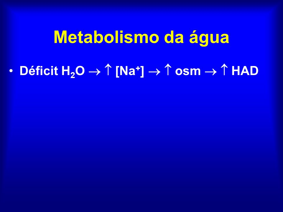 Metabolismo da água Déficit H2O   [Na+]   osm   HAD
